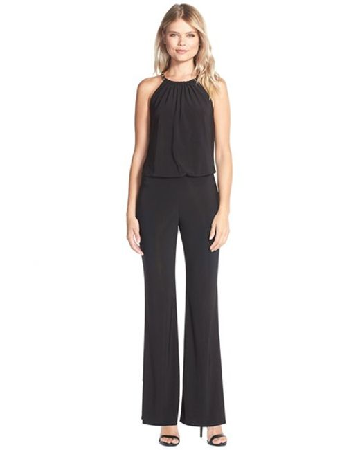 Laundry by Shelli Segal | Black Chain Detail Jersey Jumpsuit | Lyst