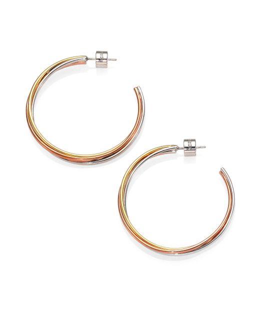 Michael Kors | Multicolor Tricolor Twisted Hoop Earrings/1.5 | Lyst