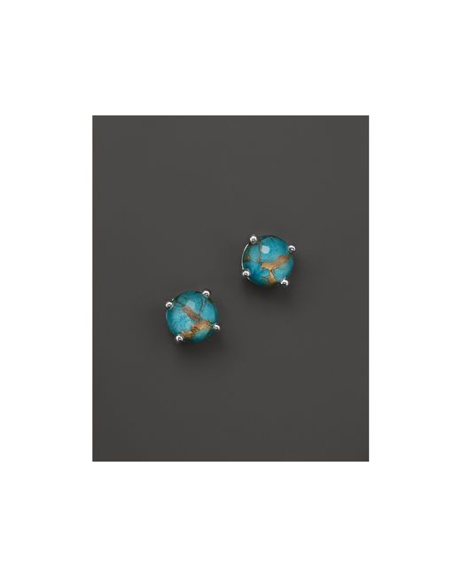 Ippolita | Blue Sterling Silver Rock Candy Mini Stud Earrings In Clear Quartz And Bronze Turquoise | Lyst