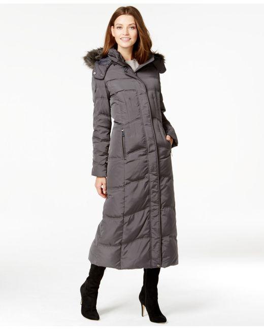 Jones New York Faux Fur Trim Down Quilted Maxi Coat In