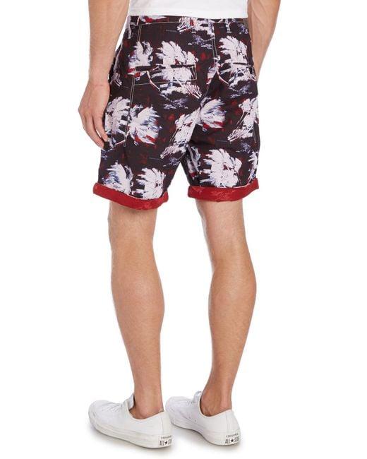 G-Star RAW | Blue Bronson Straight Fit Hawaiian Print Shorts for Men | Lyst