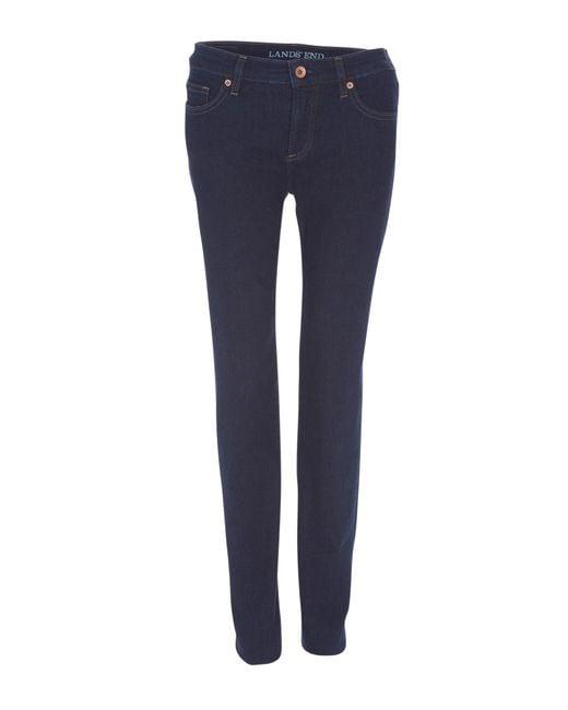 Lands' end Mid Rise Straight Leg Jeans in Blue (Denim Dark ...