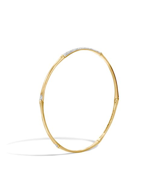 John Hardy | Metallic Bamboo Bangle With Diamonds | Lyst