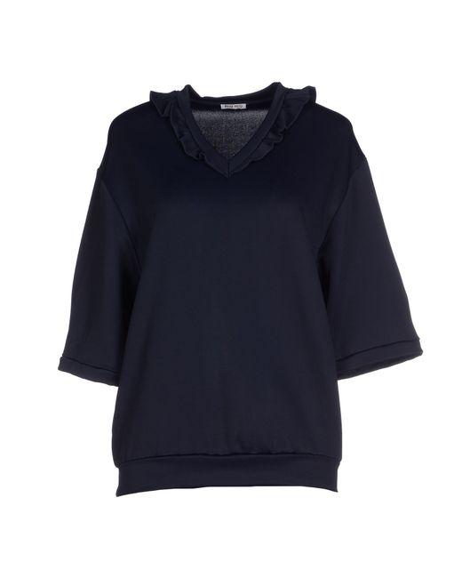 Miu miu t shirt in blue dark blue lyst for Miu miu t shirt