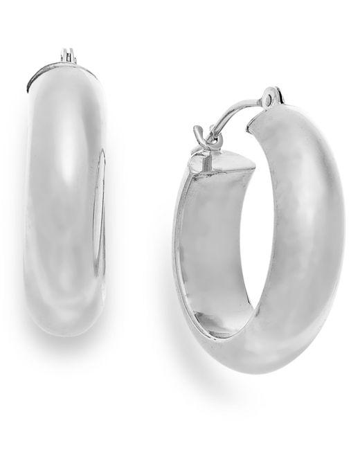 Macy's | Wide Hoop Earrings In 10k White Gold | Lyst