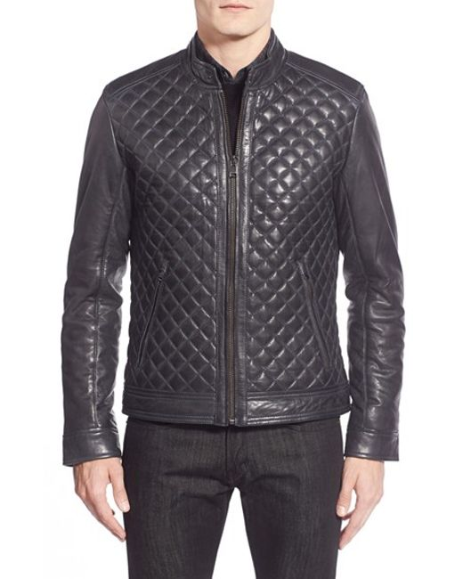 Lamarque | Blue Quilted Leather Moto Jacket for Men | Lyst