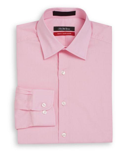 Saks Fifth Avenue | Pink Trim-fit Solid Dress Shirt for Men | Lyst