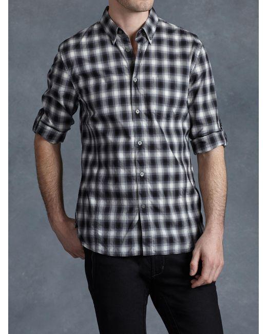John Varvatos | Black Checked Shirt for Men | Lyst
