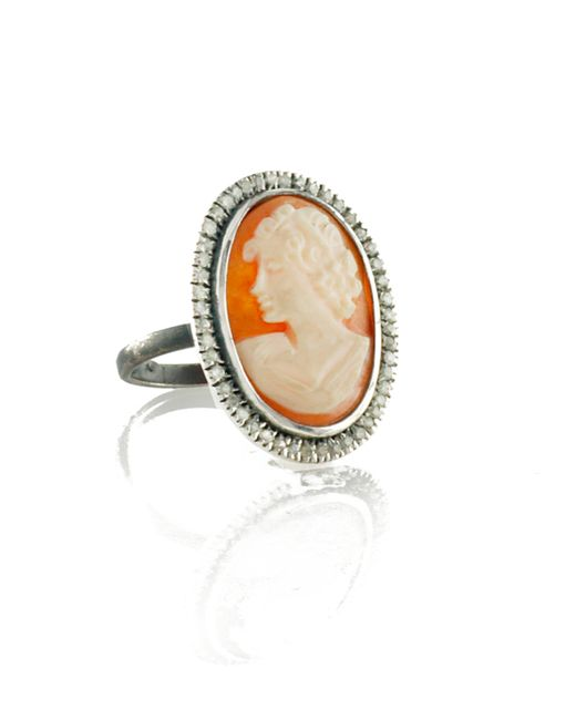 Amedeo | Metallic Amedeo Lady Cameo Ring | Lyst