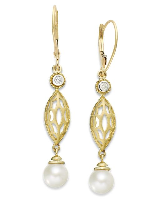 macy s pearl earrings macy s 14k gold earrings cultured freshwater pearl 7mm 8315