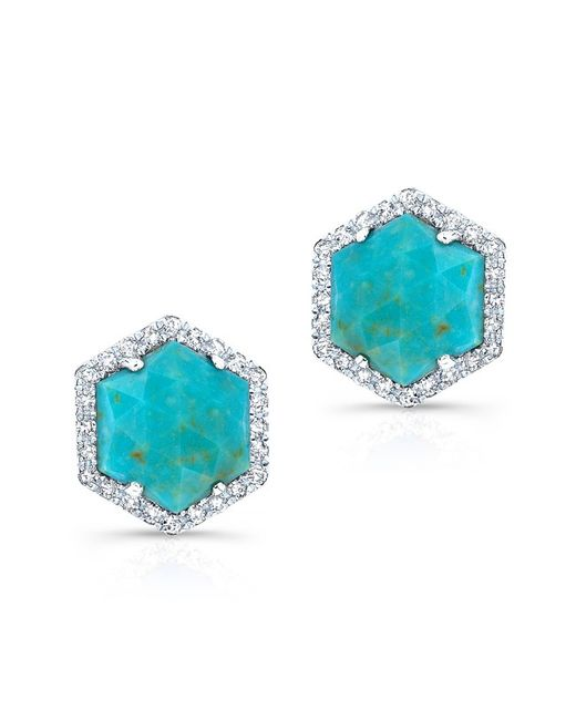 Anne Sisteron - Blue 14kt Yellow Gold Turquoise Diamond Hexagon Stud Earrings - Lyst