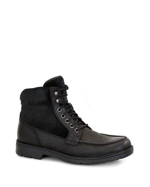 UGG | Black Barrington Shearling-lined Leather Utility Boots for Men | Lyst