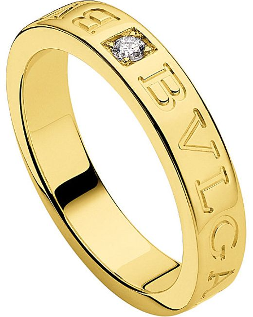 BVLGARI | Metallic - 18kt Yellow-gold And Diamond Ring | Lyst