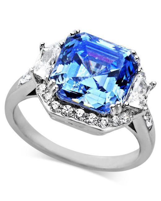 Arabella | Metallic Blue And White Swarovski Zirconia Princess Cut Ring (10 Ct. T.w.) | Lyst