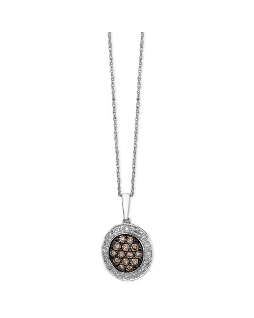 Le Vian | Brown Diamond Chocolate And White Diamond Oval Pendant (3/8 Ct. T.w.) In 14k White Gold | Lyst
