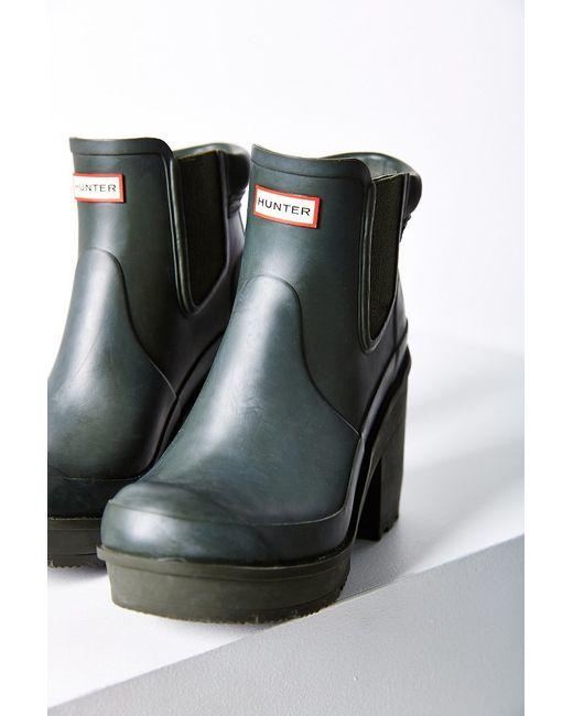 Hunter Original Block Heel Chelsea Boot In Green Dark