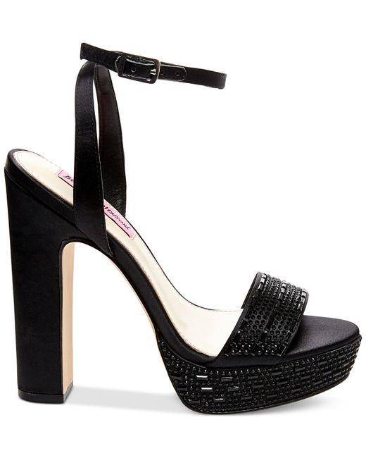 Betsey Johnson | Black Alliie Platform Evening Sandals | Lyst