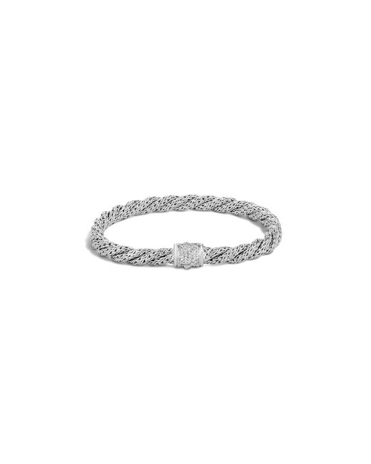 John Hardy | White Classic Chain Sterling Silver Diamond Pavé Extra Small Flat Twisted Chain Bracelet | Lyst