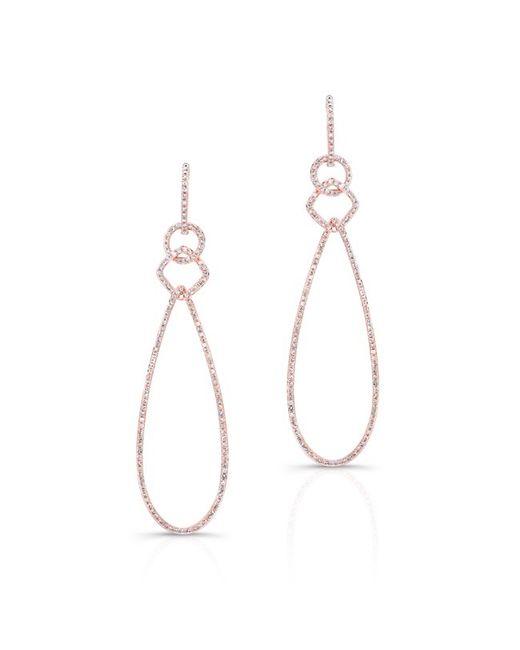 Anne Sisteron | Pink 14kt Rose Gold Diamond Open Pear Link Drop Earrings | Lyst