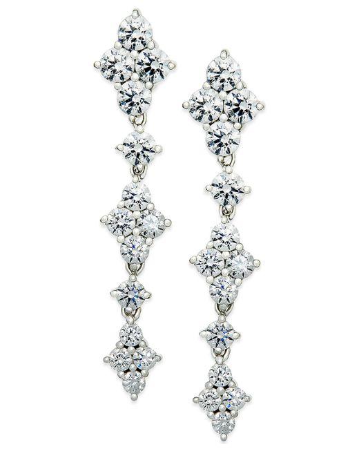 Arabella | Metallic Swarovski Zirconia Drop Earrings In Sterling Silver | Lyst