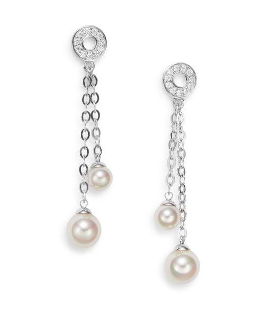 Majorica | 6mm-8mm White Pearl & Sterling Silver Chain Drop Earrings | Lyst
