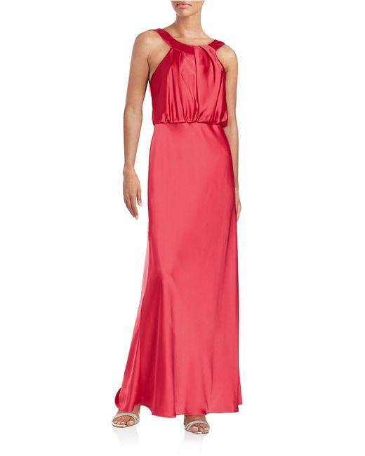 Calvin Klein | Red Blouson Bodice Gown | Lyst