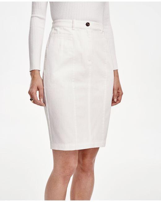 curvy denim pencil skirt in white save 22 lyst