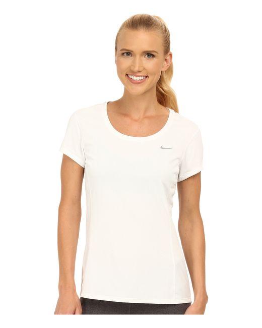 Nike | White Dri-fit™ Contour Short Sleeve | Lyst