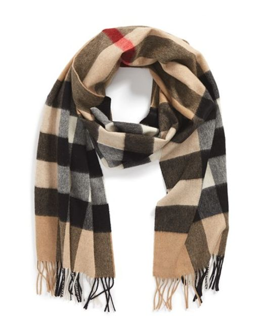 burberry scarf in blue for camel check lyst