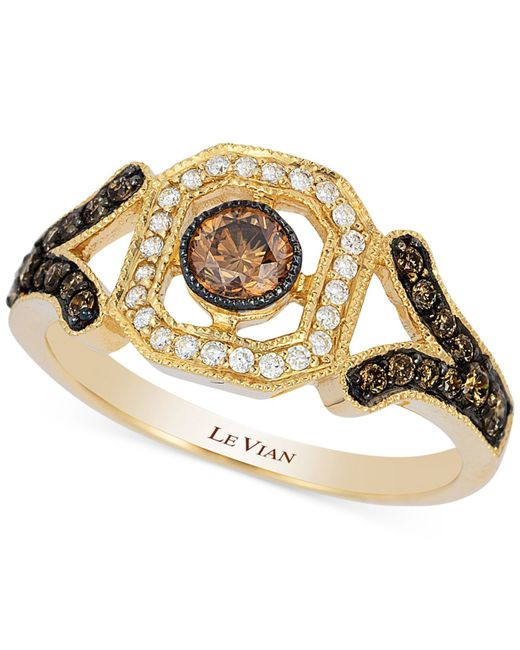 Le Vian | Brown Chocolate And White Diamond Deco Ring (3/8 Ct. T.w.) In 14k Gold | Lyst