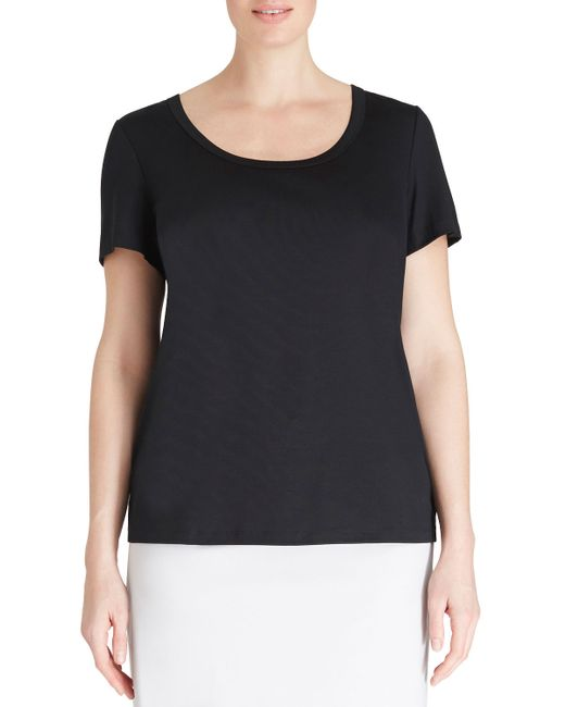Lafayette 148 New York | Black Short-sleeve Cotton Tee | Lyst