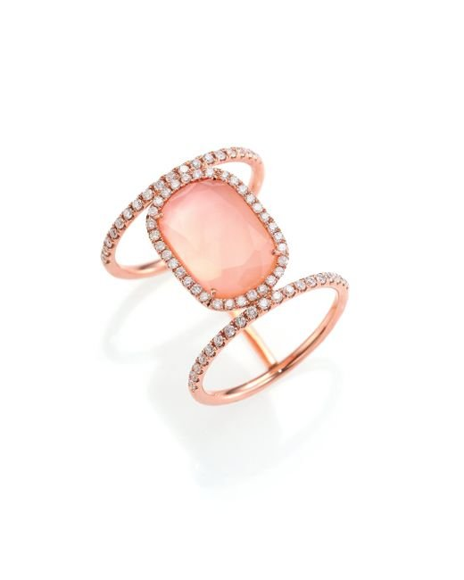 Meira T | Pink Rose Quartz, Mother-of-pearl, Diamond & 14k Rose Gold Ring | Lyst