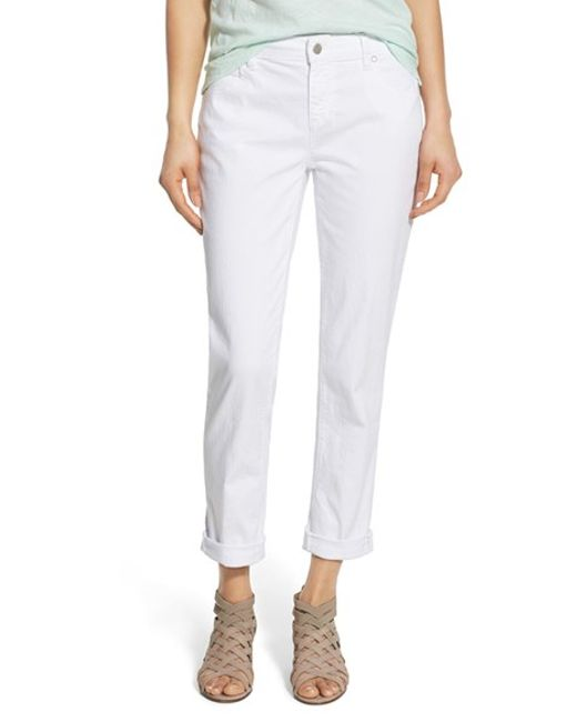 eileen fisher stretch ankle boyfriend jeans in white lyst. Black Bedroom Furniture Sets. Home Design Ideas