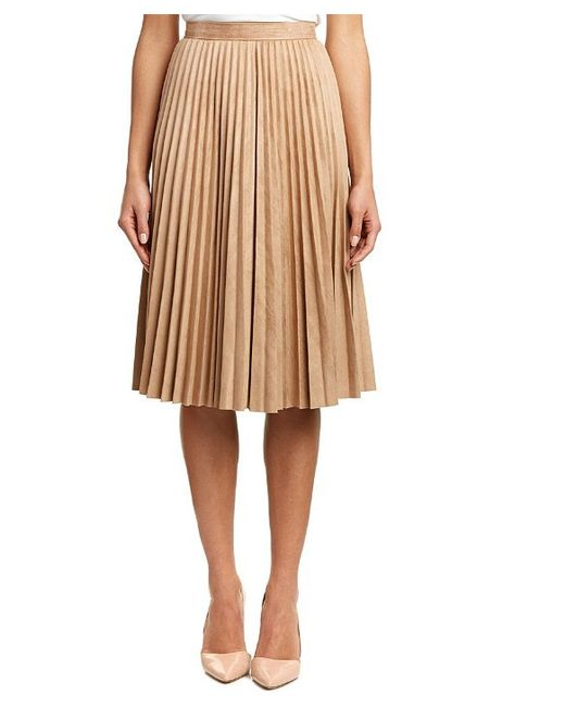 yal ny pleated skirt in beige lyst