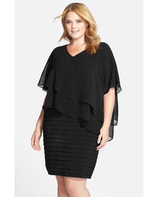 Adrianna Papell | Black Tiered Chiffon & Shutter Pleat Jersey Dress | Lyst