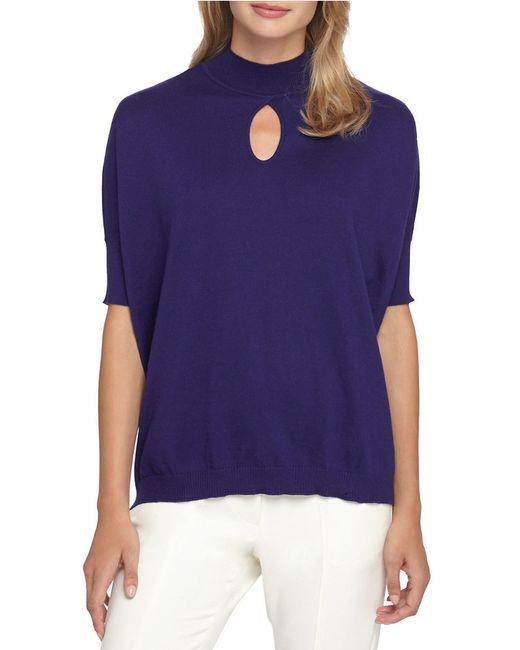 Catherine Malandrino | Blue Keyhole Mockneck Sweater | Lyst