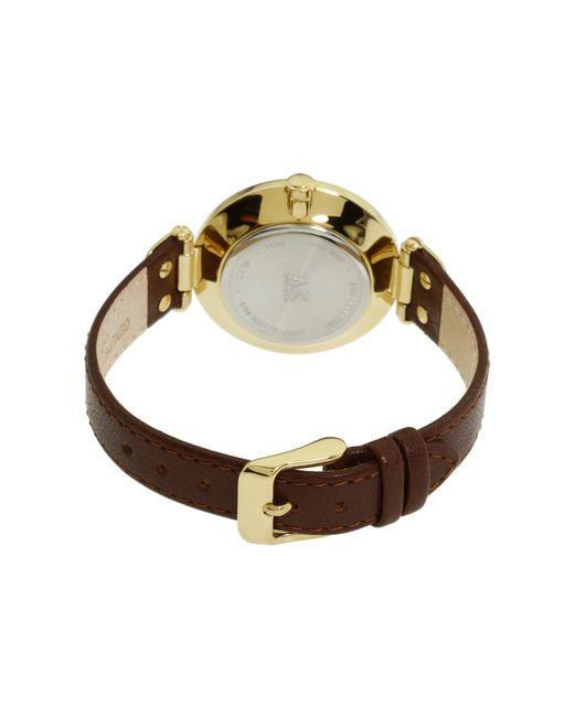 Anne klein 109168ivbn round dial leather strap watch in gold brown lyst for Anne klein leather strap