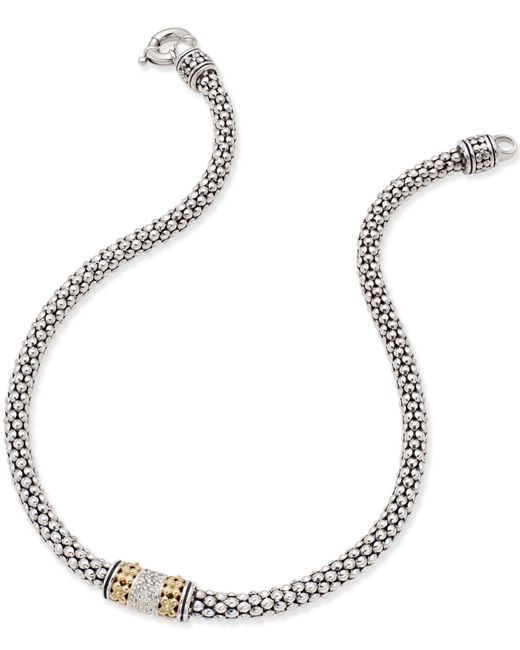 Macy's | Metallic Diamond Mesh Necklace (1/5 Ct. T.w.) In Sterling Silver And 14k Gold | Lyst