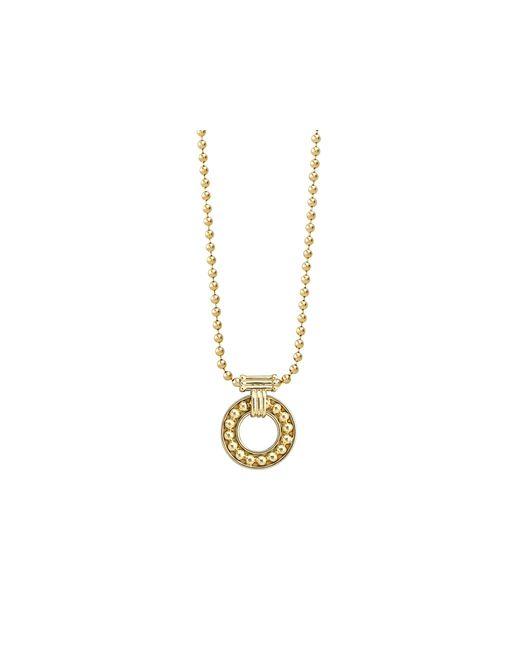 "Lagos | Metallic 18k Gold Circle Pendant Necklace, 16"" | Lyst"
