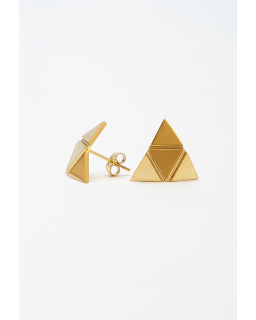 Forever 21 | Metallic Moon And Lola Triangle Studs | Lyst