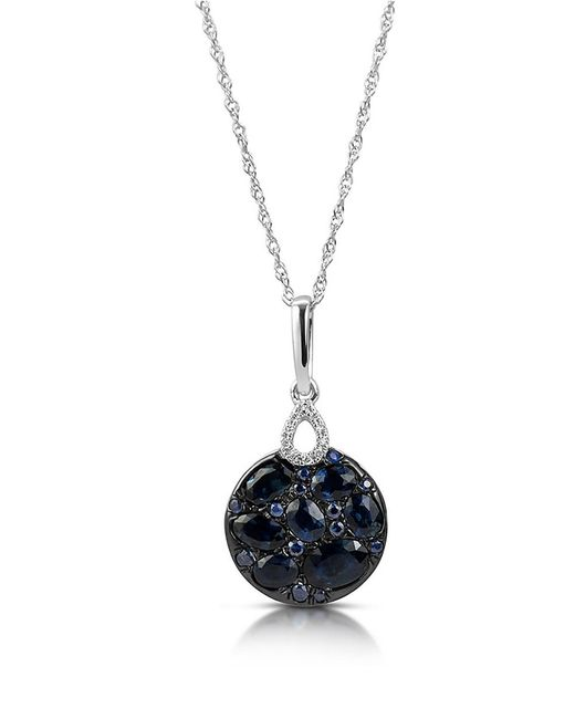 Marco Moore | Blue Sapphire, Diamond And 14k White Gold Pendant Necklace | Lyst