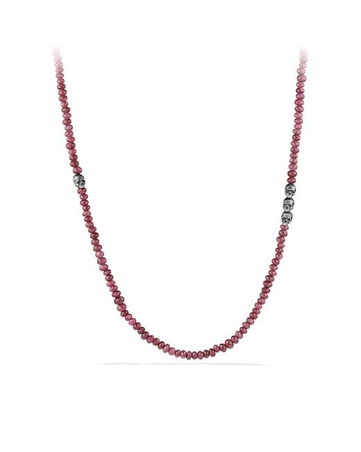 David Yurman | Red Skull Station Necklace In Ruby for Men | Lyst