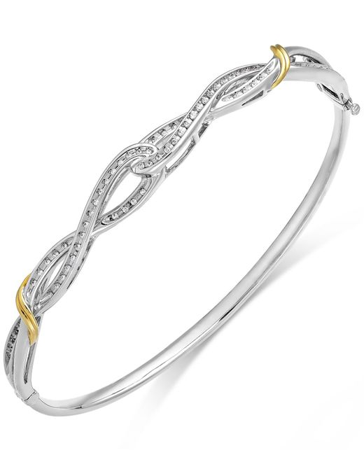 Macy's | Metallic Diamond Twist Bangle Bracelet In 14k Gold And Sterling Silver (1/4 Ct. T.w.) | Lyst