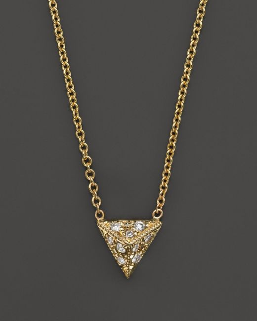 Zoe Chicco | 14k Yellow Gold Triangle Pyramid Pave Diamond Necklace, 16"