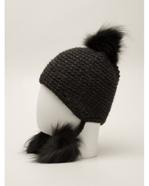 Inverni | Black Slouchy Beanie With Coyote Fur Pom-pom | Lyst
