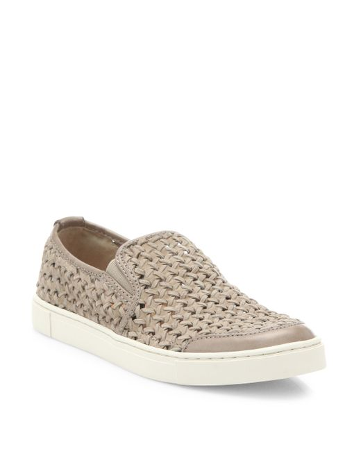Suede Woven Slip On Shoes Womens