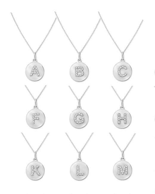 KC Designs | 14k White Gold Diamond Disc Initial Necklace | Lyst
