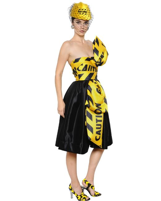 Moschino Caution Tape Printed Bow Satin Dress In Yellow
