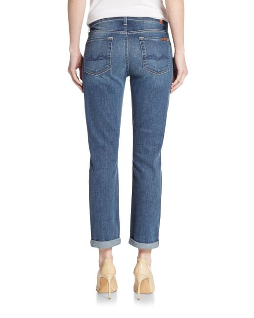 7 for all mankind Josefina Distressed Boyfriend Jeans in Blue - Save 56% | Lyst