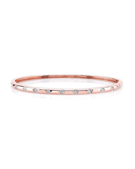 Anne Sisteron - Pink 14kt Rose Gold Sparkle Half Diamond Bangle Bracelet - Lyst